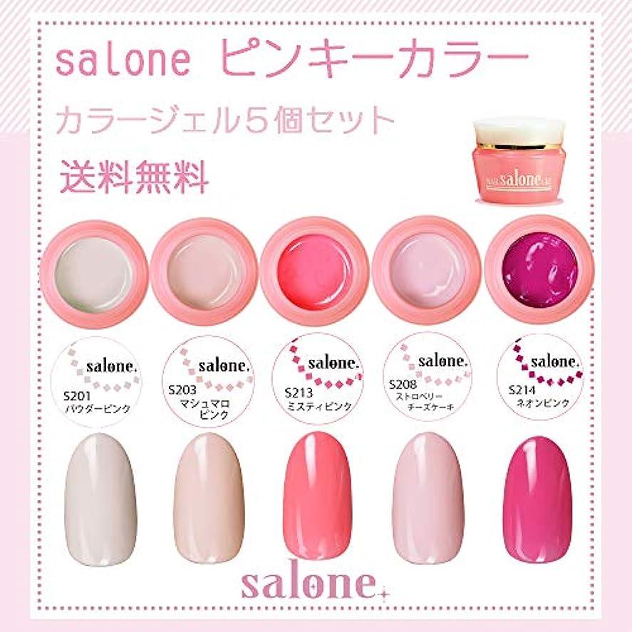 【送料無料 日本製】Salone ピンキー カラージェル5個セット サロンで人気のネイルのマストアイテムピンキーカラー