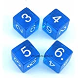 WKP02482E4 Blue Transparent Dice with White Numbers D6 16mm (5/8in) Pack of 4 Dice Koplow Games