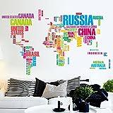 YraPros(TM)DIYホームインテリア世界地図の手紙引用リムーバブルステッカーアート壁画家の装飾のビニールウォールステッカー