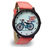 ZooooM 自転車 プリント ウォッチ シンプル デザイン 文字盤 おもしろ アナログ 腕 時計 ファッション アクセサリー ユニーク カジュアル メンズ 男性 (ピンク) ZM-NISHIUE-PK