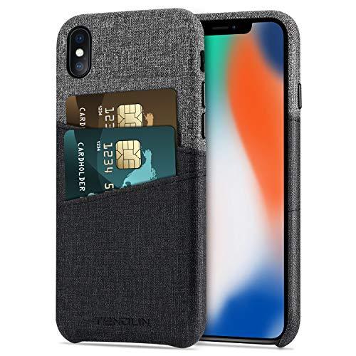 TENDLIN iPhone X ケース/iPhone XS ケース 手帳型 財布型ケース と2つのカードホルダースロットレザーケース アイフォン X/アイフォン XS 用 (ブラック&グレー)