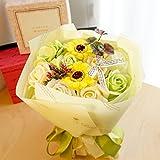 【ベルシック】 フレグランスソープフラワー ローズ&ガーベラ・グリーン ほのかに香るお花  枯れないお花 母の日 お祝・お見舞い ギフトクリアバック付   (グリーン)
