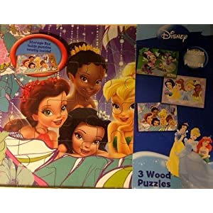 Disney ディズニー Princess プリンセス Tinkerbell ティンカーベル Fairies フェアリーズ & Minnie ミニー Mouse 3 Wood Puzzles with Storage Box by Cardinal [並行輸入品]
