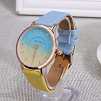 Fashion Dual-Color Unisex Wristwatch PU Strap Student Casual Teenager Watch