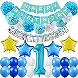 1歳 誕生日 飾り付け セット 数字1 ブルー スター 星 風船 happy birthdayバナー ガーランド ペーパーフラワー バルーン フォトプロップス 最初の誕生日 装飾 子供 47枚セット
