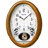 セイコー クロック 掛け時計 ミッキーマウス ミニーマウス 電波 アナログ 6曲 メロディ ミッキー&フレンズ Disney Time ディズニータイム 木枠 薄茶 木地 FW575B SEIKO