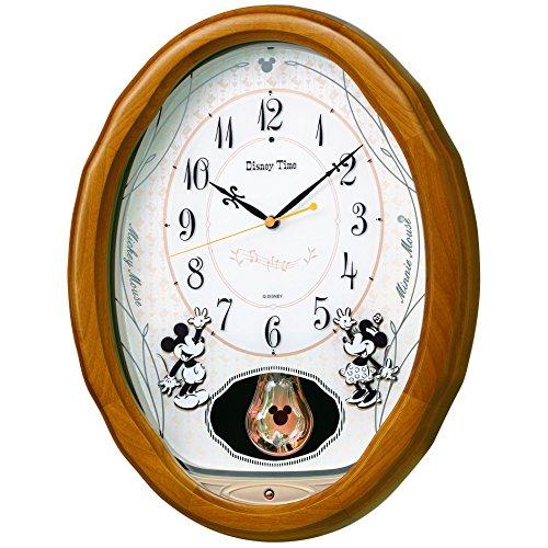 SEIKO CLOCK(セイコークロック) ディズニー ミッキーマウス 電波掛時計 木枠 (ラバー・薄茶木地塗装) FW575B FW575B