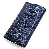 JL クロコダイル 財布 長財布 レディース がま口 小銭 入れ 財布 レディース ブランド 人気 がま口財布 (ネービーブルー deep blue)
