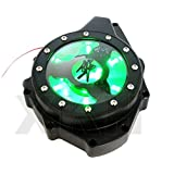 XKH Group Green LED Glass See Through Engine Cover For Suzuki Gsx1300R Hayabusa 99-13 Black [並行輸入品]