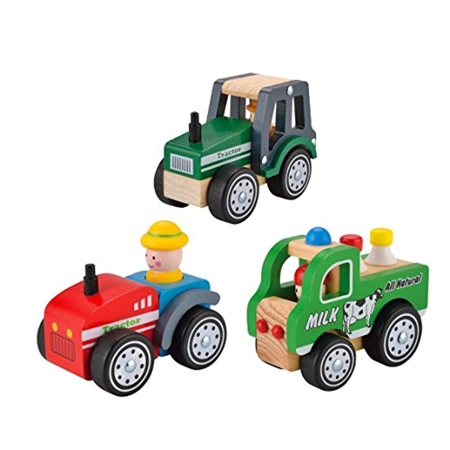 Wooden Kid's Farm Toy Vehicles Play Set of Toy Green Tractor+Toy Milk Car+Toy Red Tractor (3 Assistant Farm Car) By KIDS TOYLAND
