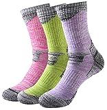アウトドアウェア トレッキング 登山用ソックス 女性靴下 3足入り (バラ色1足xグリーン1足xパープル1足)
