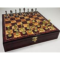 ITALFAMA 70M Real Brass Metal Gold & Silver Color Floral Staunton Chess Men Set W/ 17