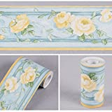 LoveFaye 黄色ツバキトリムボーダー防水貼付 壁紙ボーダーシート 壁面装飾