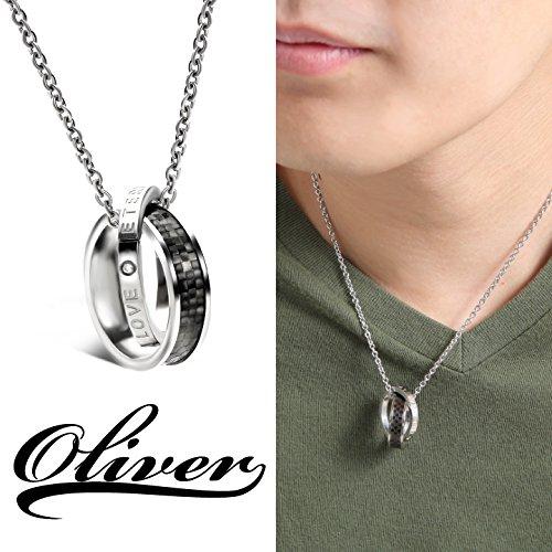 oliver メンズ ネックレス ダブル リング ダミエ柄 格子柄 サージカルステンレス アレルギー対応
