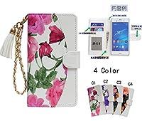 「kaupili」ケース 鏡/ミラー付き カード収納 スタンド機能 手帳型 お財布機能付き 化粧鏡付き (Purple flower) PU113SP-2-CF-JZ (Galaxy S6 SC-05G)
