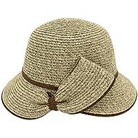 Zhhlinyuan Women Summer Wide Brim Sun Hat Fedora Foldable Beach Straw Cap Jazz Hat UPF50+