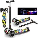 スクーターフラッシュ音楽折りたたみスクーター4つのギア子供のギフトのおもちゃを調整する ( Color : Beige )