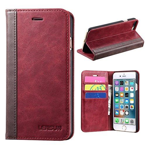 0131424dce LENSUN iPhone 8 Plus ケース. やわらかくしっとりした手触りが特徴の、本革レザー製手帳型ケース。