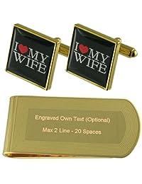 私は私の愛する妻のゴールド?トーン カフスボタン お金クリップを刻まれたギフトセット