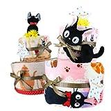 魔女の宅急便 黒猫 ジジ おむつケーキ ループ付きタオル ブレックファースト おすましジジ ムーニーM  2段オムツケーキ 大きいタオル(バスタオル フェイスタオル)