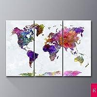 Royllent アートパネル インテリアアート「多彩な地図」キャンバス絵画 3パネルセット(額付きの完成品) (H)