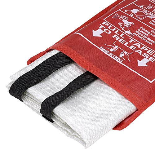 [Pack of 2] Fire Blanket/Fire Suppression Blanket with Fire Protective Gloves -Suitable for Camping, Grilling, Kitchen Safety, Car and Fireplace Retardant Blanket for Emergency (with Gloves + Hook)