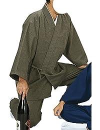 踊り衣裳 ドビー織作務衣 作印 茶 メンズ レディース