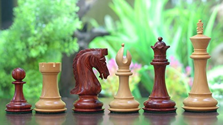 Chessbazaar Triple Weight Staunton Chess Set Blood Red Bud Rose Wood 4 Queens