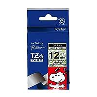ブラザー工業 TZeテープ スヌーピーテープ(スヌーピーグリーン/黒字) 12mm TZe-SG31