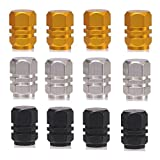 P2P@zita Hexagon Style Polished Aluminum Chrome Tire Valve Stem Caps (Pack of 12) (Gold Silver Black 7.4mm) [並行輸入品]