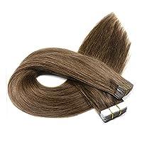ウィッグ 女性用 毛延長の人間の毛髪のテープ-100%加工されていないレミーストレート横糸混合茶色 良質 (色 : ブラウン, サイズ : 24 inch)