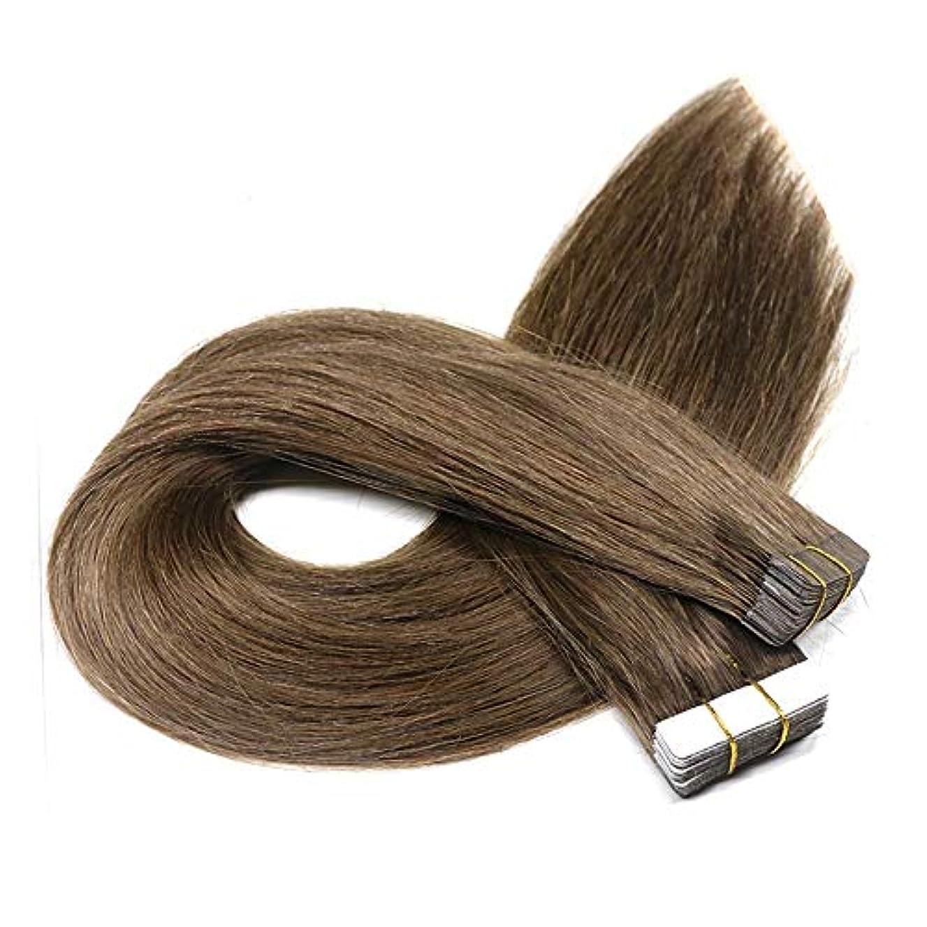 欠員珍味平凡WASAIO ヘアエクステンションクリップ人間でシームレスな髪型テープ - 100%未処理のレミーストレート横糸モトリー?ブラウンセンブランス (色 : ブラウン, サイズ : 14 inch)