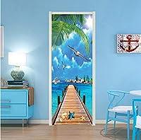 Mingld 3D壁紙現代青空海辺の風景写真壁画リビングルームダイニングルームドアステッカーDiywall Paper 3 D-200X140Cm