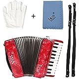 ammoon ピアノアコーディオン 8ベース 3色選択 22鍵 楽器 初心者入門セット 独奏用