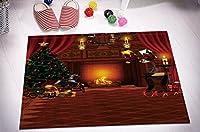 """Merry Christmas Season Eve新しい年装飾装飾ギフトシャワーカーテンポリエステル生地3d 60x 72"""" 72x 72""""白カビ耐性防水浴室バスライナーセットwithプラスチックフックバスマット Bath Mat 16x24"""" Shower Curtain"""