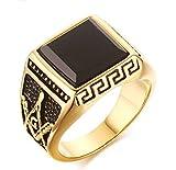 [秘密結社] ブラック オニキス フリーメイソン G シンボルマーク 圧巻 ビンテージ ゴールド リング [極秘 闇 都市伝説] サージカル ステンレス316L FREEMASON 指輪 Black Gold (16号)