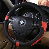 ハンドルカバー 軽自動車&普通車兼用ハンドルカバ- 触感よく、汚れ防止、滑り防止ハンドルカバー   直径38cm 適応サイズ:37-38㎝ 赤+黒 … - 2,055 円