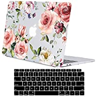 Lapac MacBook Air 13 Inch Case 2018 Release A1932, Rose Flower Clear Case, Soft Tough Frosted See Through Hard Shell Case for MacBook Air 13 Inch & Retina Display Fits Touch ID Multicoloured (ONLYfor2018)Waterrose 13 Inches