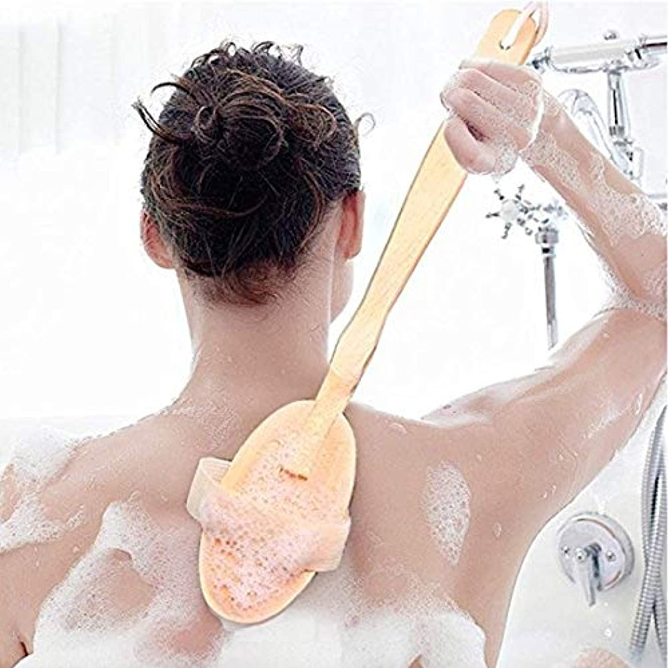 応用家主反対にicey 木製 長柄 入浴ブラシ お風呂の神器 ブラシ 入浴ブラシ ブタのたらいブラシ 軟毛 背中をこす 背中長柄ボディブラシ高級木製豚毛入浴ブラシ美肌効果むくみ改善