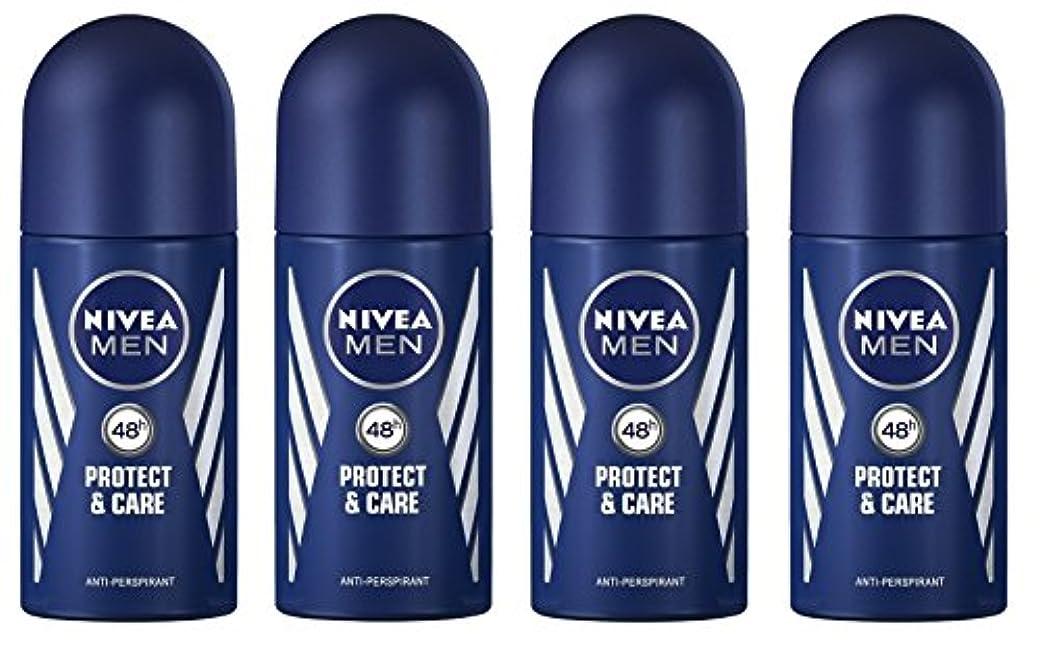 訴える売上高留め金(Pack of 4) Nivea Protect & Care Anti-perspirant Deodorant Roll On for Men 4x50ml - (4パック) ニベア保護するそしてお手入れ制汗剤デオドラントロールオン...