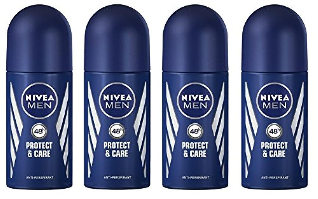 水チャーターそれに応じて(Pack of 4) Nivea Protect & Care Anti-perspirant Deodorant Roll On for Men 4x50ml - (4パック) ニベア保護するそしてお手入れ制汗剤デオドラントロールオン...