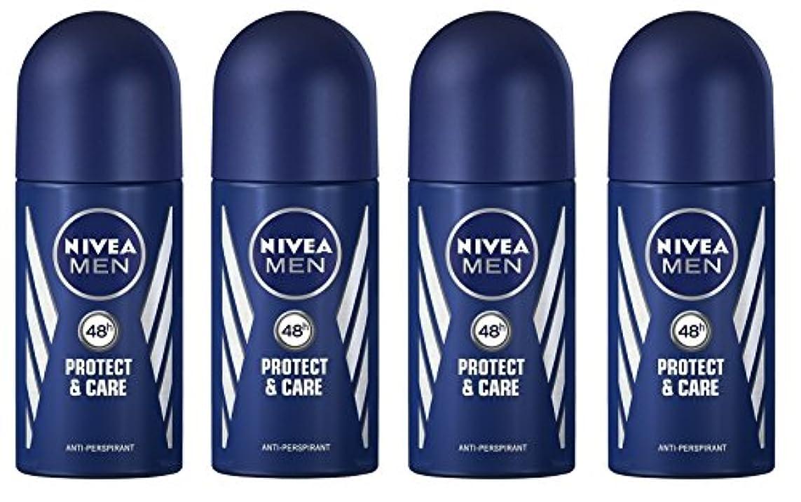 接続モトリー休暇(Pack of 4) Nivea Protect & Care Anti-perspirant Deodorant Roll On for Men 4x50ml - (4パック) ニベア保護するそしてお手入れ制汗剤デオドラントロールオン...