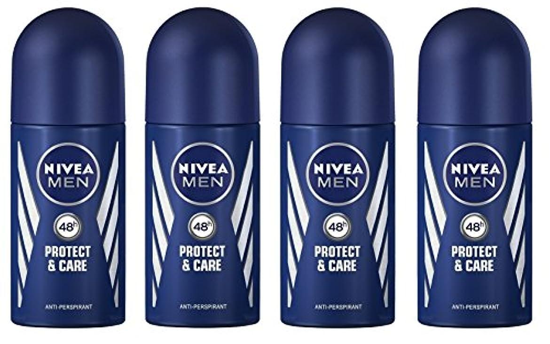 インタラクション着飾る限り(Pack of 4) Nivea Protect & Care Anti-perspirant Deodorant Roll On for Men 4x50ml - (4パック) ニベア保護するそしてお手入れ制汗剤デオドラントロールオン...
