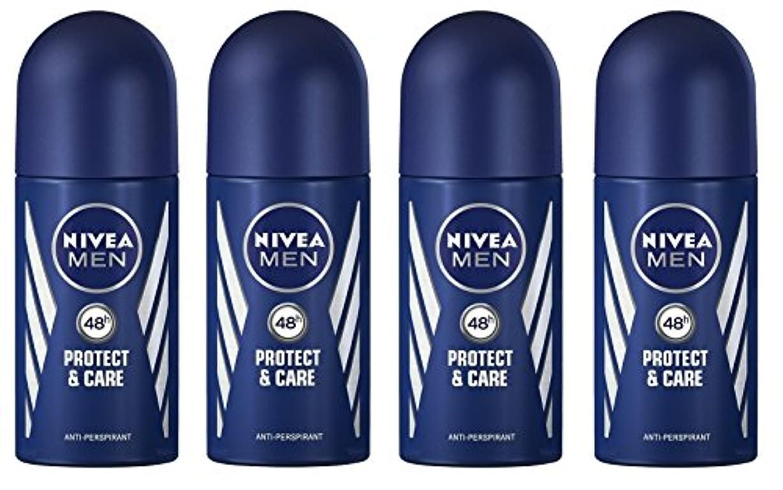 効果的音楽を聴く(Pack of 4) Nivea Protect & Care Anti-perspirant Deodorant Roll On for Men 4x50ml - (4パック) ニベア保護するそしてお手入れ制汗剤デオドラントロールオン...