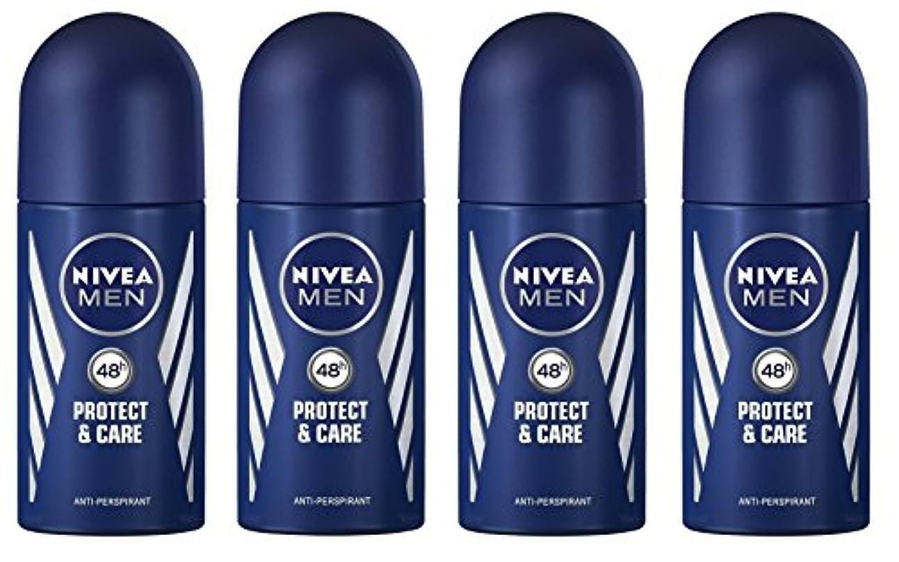 どれ梨発生器(Pack of 4) Nivea Protect & Care Anti-perspirant Deodorant Roll On for Men 4x50ml - (4パック) ニベア保護するそしてお手入れ制汗剤デオドラントロールオン...