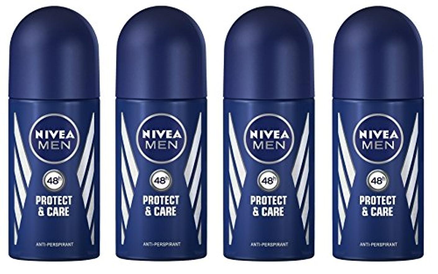 大胆な犬実施する(Pack of 4) Nivea Protect & Care Anti-perspirant Deodorant Roll On for Men 4x50ml - (4パック) ニベア保護するそしてお手入れ制汗剤デオドラントロールオン男性用4x50ml