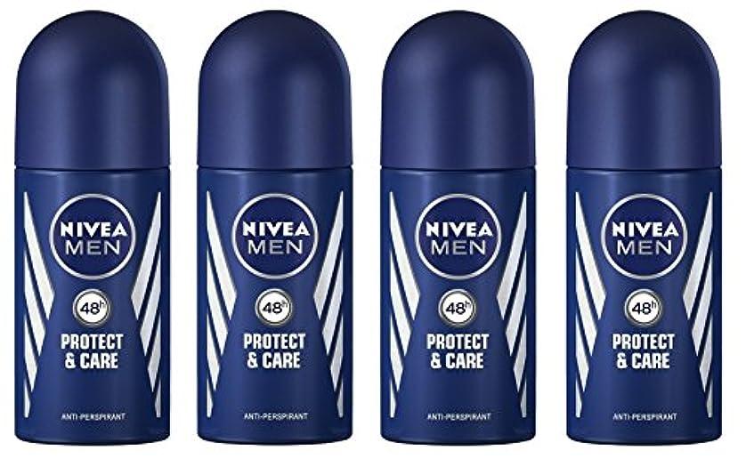 文法知性リズム(Pack of 4) Nivea Protect & Care Anti-perspirant Deodorant Roll On for Men 4x50ml - (4パック) ニベア保護するそしてお手入れ制汗剤デオドラントロールオン...