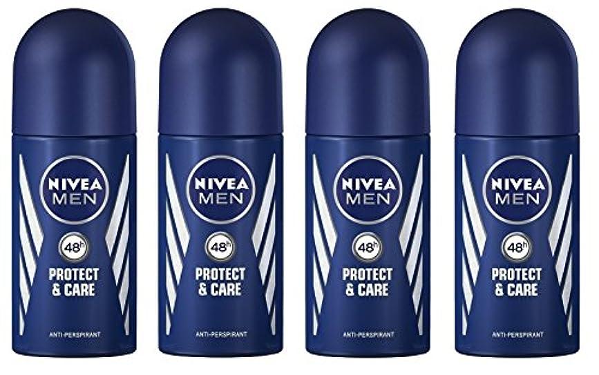 昨日不承認静的(Pack of 4) Nivea Protect & Care Anti-perspirant Deodorant Roll On for Men 4x50ml - (4パック) ニベア保護するそしてお手入れ制汗剤デオドラントロールオン...