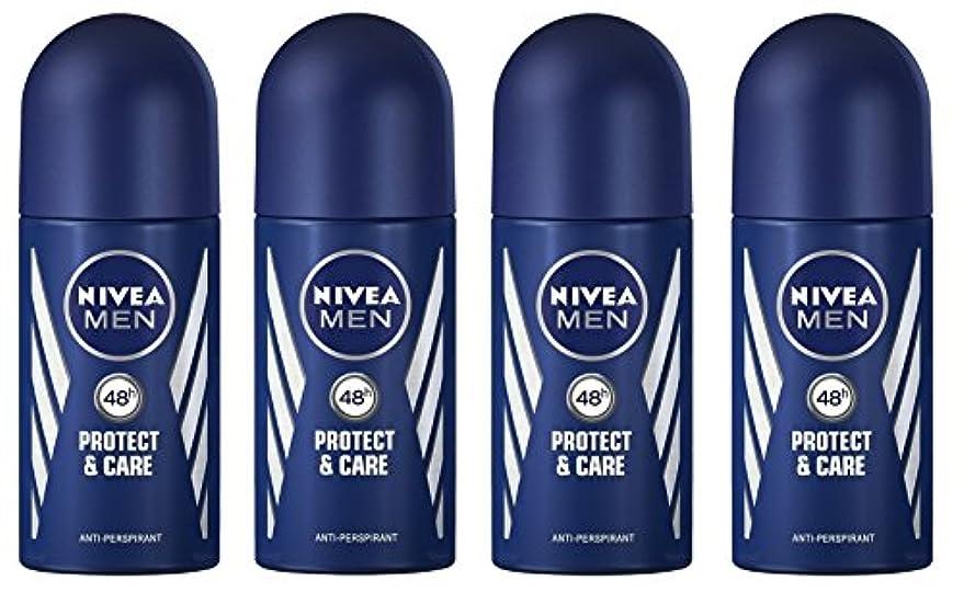 布最大のハンドブック(Pack of 4) Nivea Protect & Care Anti-perspirant Deodorant Roll On for Men 4x50ml - (4パック) ニベア保護するそしてお手入れ制汗剤デオドラントロールオン...