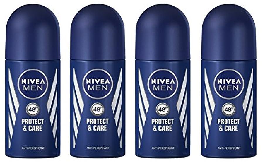 ひも元気促す(Pack of 4) Nivea Protect & Care Anti-perspirant Deodorant Roll On for Men 4x50ml - (4パック) ニベア保護するそしてお手入れ制汗剤デオドラントロールオン...